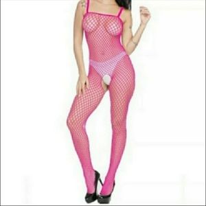 Sexy Hot Pink Fishnet Body Stocking Lingerie OS